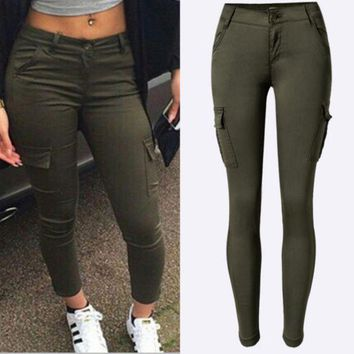 LMFIH3 Women's low-waist Slim stretch pants feet army green outdoor leisure sports climbing pants