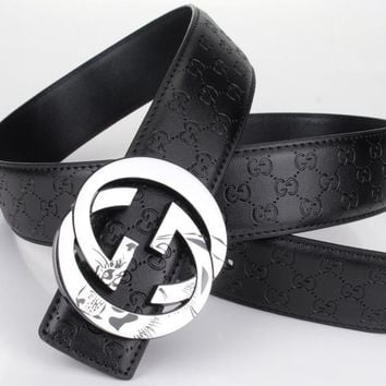Gucci Woman Fashion Smooth Buckle Belt Leather Belt-17