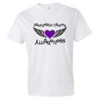 "Raise awareness with Pancreatic Cancer Men's Fashion T-Shirts featuring a heart design with fighter wings to advocate, support and fight strong by  <a href=""http://store.hopedreamsdesigns.com"">HopeDreamsDesigns.Com</a>.  Ideal for awareness walks and suppo"