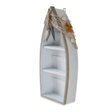 "Beach Theme Display Boat with 3 Shelves with Fish Net and Star Fish / Shell 16.5""H"