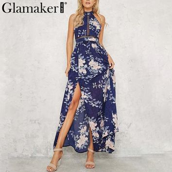 Glamaker Floral print chiffon summer dress Sexy hollow out backless maxi dress vestidos Casual halter women dress boho beach