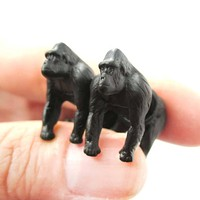 Fake Gauge Earrings: Realistic Gorilla Monkey Shaped Animal Themed Stud Earrings in Black