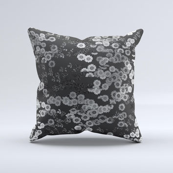 Small Black and White Flower Sprouts ink-Fuzed Decorative Throw Pillow