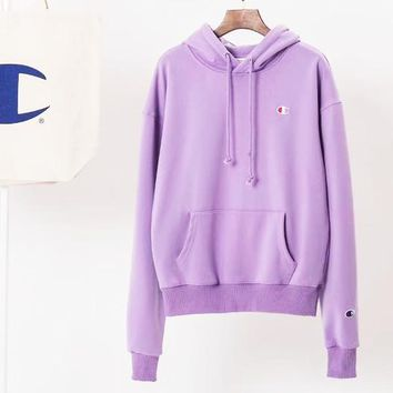 Champion Women Fashion Velvet Embroidery Hoodie Top Sweater Purple