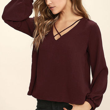 Big City Burgundy Long Sleeve Top