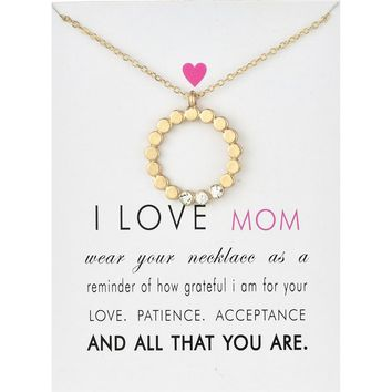 Fashion Jewelry i love mom dotted circle crystal necklace For Women