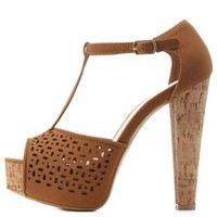 Tan Bamboo Perforated T-Strap Platform Heels by Charlotte Russe