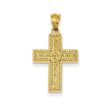 14k Yellow Gold Greek Filigree Cross Pendant