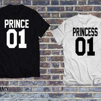Prince 01 Princess 01 couple set of t-shirts, couple shirts, matching shirts for couples, couples jerseys, bonnie tshirt, Unisex style shirt