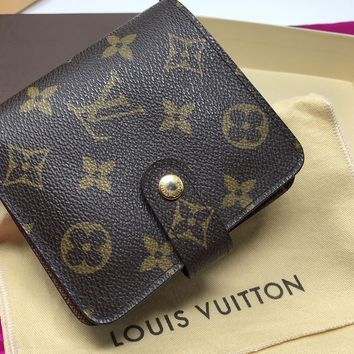 LOUIS VUITTON MONOGRAM COMPACT ZIP BIFOLD WALLET- M61667 ($695) - PRISTINE