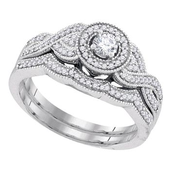 10k White Gold Womens Round Diamond Halo Woven Twist Bridal Wedding Engagement Ring Band Set 3/8 Cttw