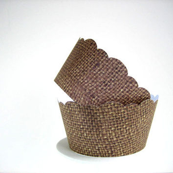 150 Burlap Cupcake Wrappers  Shabby Chic Rustic by brightsoslight