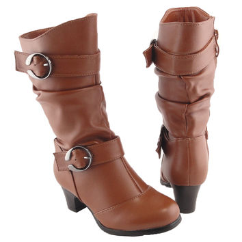 Kids Mid Calf Boots High Heel Double Buckle Side Zipper Closure Tan