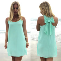 Summer dress 2016 women dress female summer style bow vestido de festa sundress plus size women clothing beach dress chiffon
