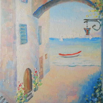 "Custom Italy Still Life ""Sea Shore"" Original Impasto Oil Painting from Photo Wall Decor Landscape Water Sea Modern Art Made to Order Nature"