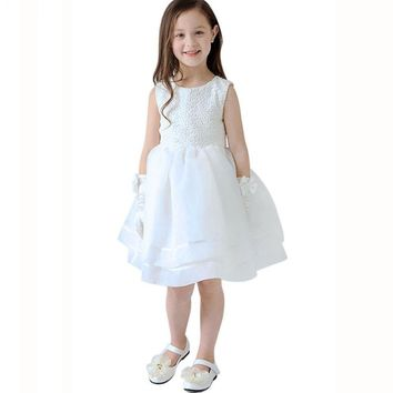summer Kid girl dress Cotton Blended Gauze baby mini dress draped Lace Belt