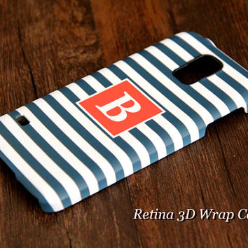 Navy Blue Stripes Custom Monogram 3D-Wrap Samsung Galaxy S5 Case Galaxy S4 Case Galaxy S3 Case Galaxy Note 3 and Note 2 Case