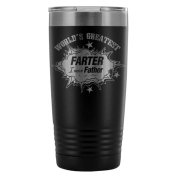 Dad Travel Mug Worlds Greatest Farter Mean Father 20oz Stainless Steel Tumbler