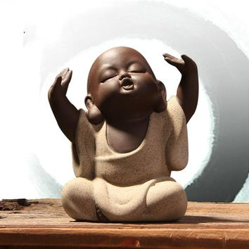 T Cute Pet Chinese Sand Little Monk Buddha Tea Yoga Room Decoration Boutique Accessories Handmade Crafts Ornaments Gift