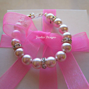 Infant Jewelry SWAROVSKI Pink Pearl Baby bracelet, Baptism, christening, baby shower gift, baby girl Jewellery .