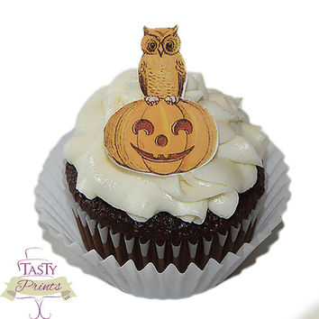 Edible Halloween decorations - 12 edible Halloween cupcake toppers - owl and pumpkin
