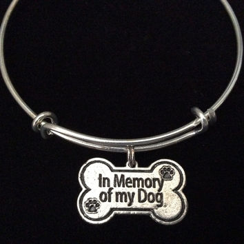 Bone Shaped In Memory of My Dog Charm on Silver Expandable Adjustable Wire Bangle Bracelet Stacking Handmade Trendy Gift Memorial