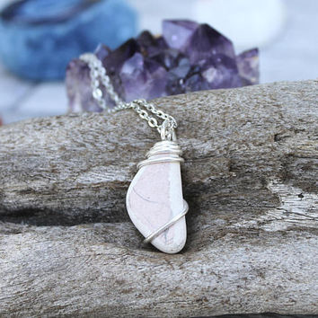 Pink Pottery Necklace, Sea Pottery Jewelry, Sea Glass Necklace, Hawaiian Jewelry, Mermaid Necklace, Mermaid Tears, Ocean Inspired Pendant