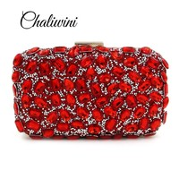 NEW Rhinestones women clutch bags Red diamonds evening bags crystal wedding bridal handbags purse bags holder