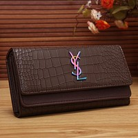YSL Women Fashion Multicolor Logo Shopping Leather Buckle Wallet Purse