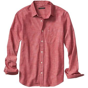 Banana Republic Mens Factory Red Chambray Shirt