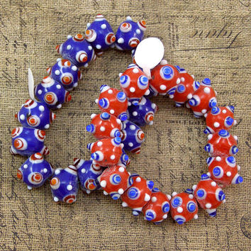 Indian Lampwork Dotted Glass Bead Mix 50% off, qty 30
