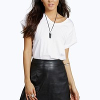 Luna Leather Look A Line Mini Skirt | Boohoo