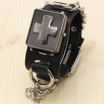 Personality punk style black fashion creative cross Rock Skull Head retro Watch #WT0022