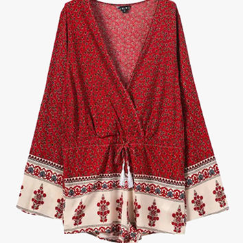 Red Boho Print Loose Flirty Romper