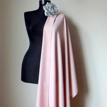 Powder Pink Shawl, Blush Pink Solid Color Soft Pashmina, Pink Wedding Shawl, Christmas Gift Wrap, Bridal, Bridesmaid Gift, Flower Brooch Pin