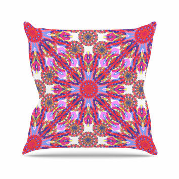 "Miranda Mol ""Kaleidoscopic Floral"" Pink Purple Outdoor Throw Pillow"