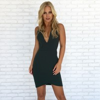 Take Off Bodycon Dress in Hunter Green