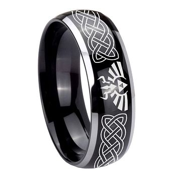 10MM Dome Glossy Black Middle Celtic Zelda Two Tone Tungsten Men's Ring