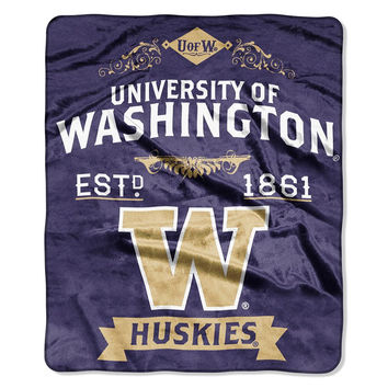 Washington Huskies NCAA Royal Plush Raschel Blanket (Label Series) (50x60)