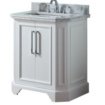 Shop allen + roth Delancy White Undermount Single Sink Birch Bathroom Vanity with Natural Marble Top (Common: 31-in x 21-in; Actual: 31-in x 21.75-in) at Lowe's