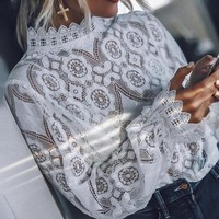 8DESS Elegant white lace blouse shirt Sexy hollow out embroidery feminine blouse Women long lantern sleeve tops female