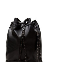 Black Faux Leather Tied Up Bucket Bag