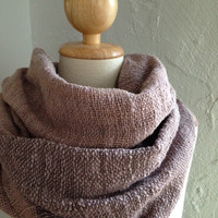 Handwoven shawl scarf in two shades of brown color in loose weaving pattern