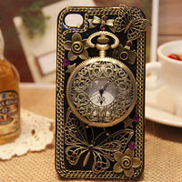 Custom Unique iPhone case iPhone 4 case iPhone 4s case antique clock decorate iPhone cover