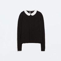 Blouse with contrasting collar