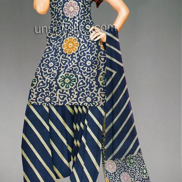PR3770-Unstitched classic blue pure handloom batik cotton salwar kameez