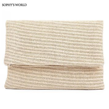 Sophy's World Fashion Straw Knitted Women Handbags Casual Day Clutches Bag Summer Women Bag Bolsos Mujer Bohemia Purse