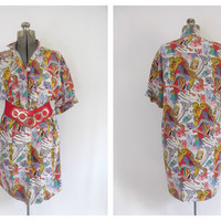 Fendi Silk Shirt Dress Abstract Avant Garde Vintage 1980s