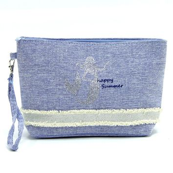 Blue Mermaid Fabric Zipper w/ Wristlet Cosmetic Bag
