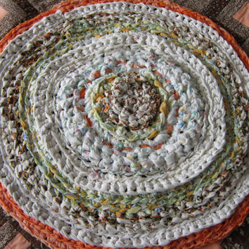 Round Rag Rug Upcycled  Recycled and Crocheted From Repurposed Fabrics in Spring Colours